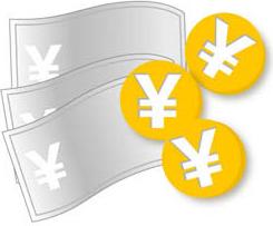 銀色の紙幣と金色の硬貨のイラスト